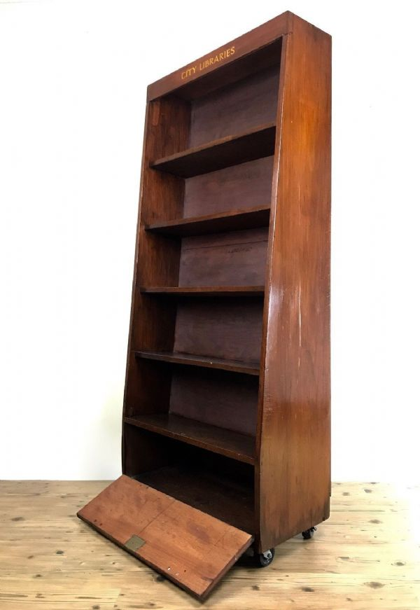 Antique Wooden Library Book Shelf / Bookcase / 1940's / Display Cabinet